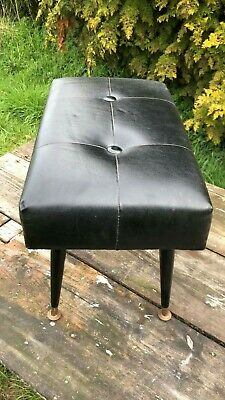 Beautiful Vintage Retro Black Leather Looking Foot Stool With Removable Legs *