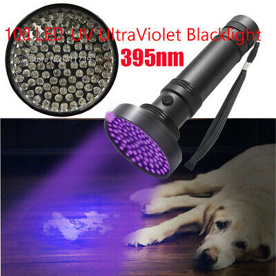 100 LED UV UltraViolet Blacklight Flashlight Lamp Inspection Light Camping 395nm