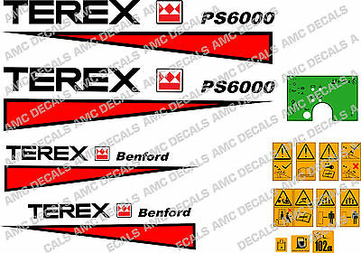 Terex Benford Ps6000 Dumper Decals With Safety Decals And Green Dash