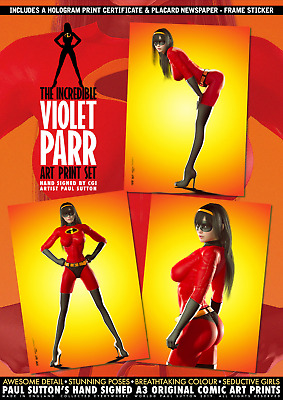 The Incredible Violet Parr A3 Signed x3 Comic Art Print Set - Incredibles SE