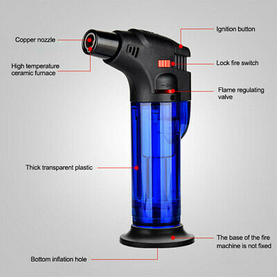 Windproof Refillable Lighter Butane Inflatable Torch Fuel Jet Flame Wormwood