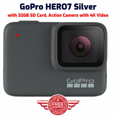 GoPro HERO7 Silver, with 32GB SD Card, Action Camera with 4K Video