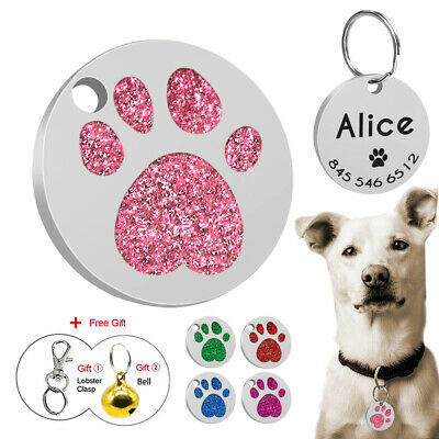 Paw Glitter Personalised Rhinestone Cat Puppy ID Name Tags Custom Free Engraved