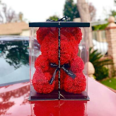 Rose Flower Teddy Bear Valentine Gift | Wedding Gifts + Free Gift Box UK STOCK