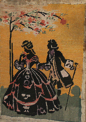 Vintage hand made embroidery tapestry Victorian portrait