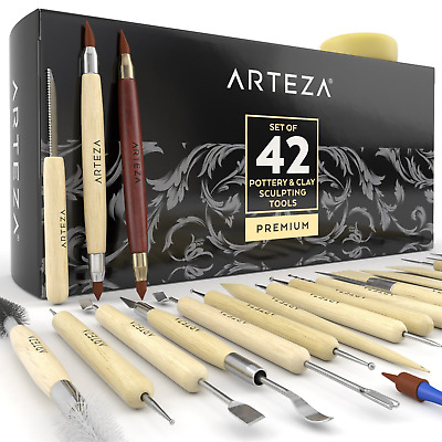 ARTEZA Pottery & Clay Sculpting Tools Set of 42