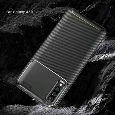 For Samsung Galaxy A50 A70 A30 Shockproof Carbon Fiber Rubber Soft Case Cover