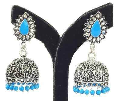 Oxidized With Stone Handmade Drop Dangle Stud Earring 6 Cm Silver Overlay