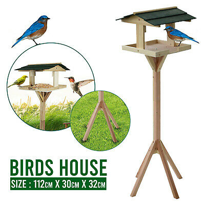 Traditional Garden Wooden Table Free Standing Bird Feeding Feeder Birds House