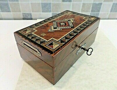 VICTORIAN 19thC INLAID ROSEWOOD EFFECT DOUBLE SLOT MONEY BOX WITH LOCK & KEY