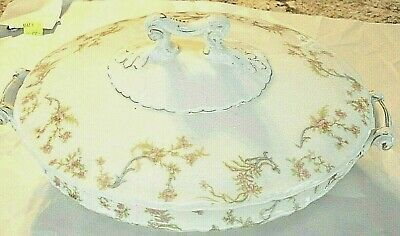 RARE Antique 1800s to 1900s Fraureuth Germany FC. Saxony Covered Dish Oval 102