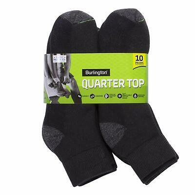 Burlington Men's Cotton Quarter Socks Comfort Power 10-Pack Black 10-13