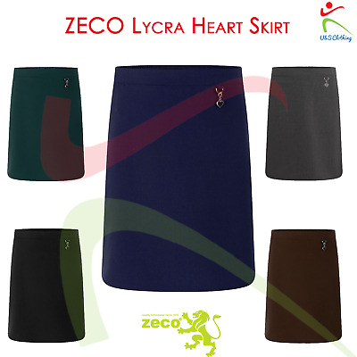 ZECO Girls Dress Lycra Heart Skirt Half Elastic Waist Jet Pocket School Uniform