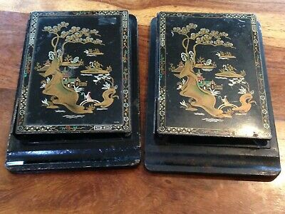 Pair Of Chinoiserie Toleware Note Pad Holders ??...Stamped To Back