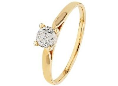 5b8f4edc0 REVERE 9CT GOLD CUBIC ZIRCONIA SOLITAIRE RING Size P - £39.00 ...