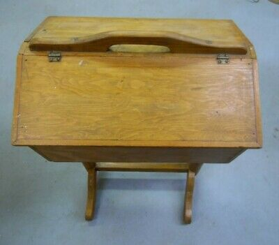 """Vintage Hand Crafted Wood Sewing Stand Basket 28"""" high Double Flip Up Doors"""