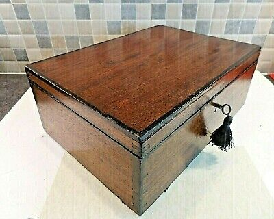 VICTORIAN 19thC SOLID MAHOGANY BOX WITH RELINED INTERIOR- GOOD SIZE - LOCK & KEY