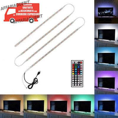 Striscia led multicolore tv lcd usb rgb posteriore 2metri Kit 4x0.5m+telecomando