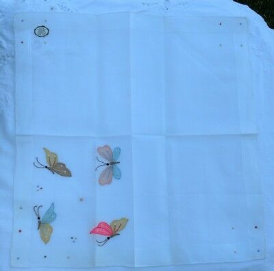 Vintage Madeira Colorful Embroidered Butterflies on White Handkerchief