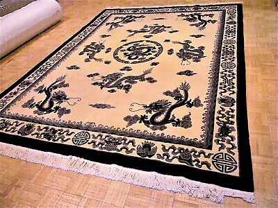 9x12 CHINESE RUG VINTAGE DRAGON NICHOLS AUTHENTIC HAND-MADE ORIENTAL RUG 1960s