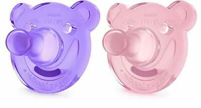 Philips Avent Soothie Bear Shape BPA Free Pacifier, 2 Count Pink/Purple 3m+