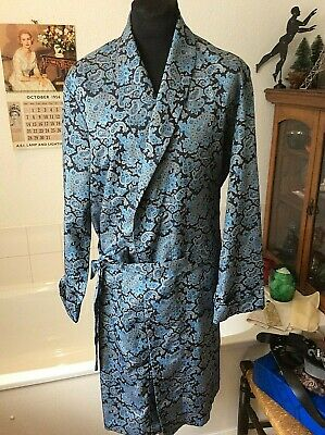 vintage 1970's Tootal lightweight faux silk blue paisley dressing gown/robe L