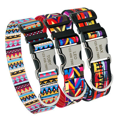 Wide Nylon Personalised Dog Collar Puppy ID Name Collars for Bulldog Labrador