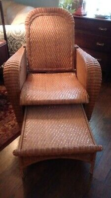 Antique Heywood Wakefield Wicker/Rattan Lounge Chair Recliner