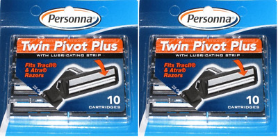 Personna Twin Pivot Plus Cartridges with Lube Strip (Fits Atra & Trac II), 20 Ct
