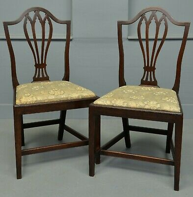 Pair Of Georgian Hepplewhite Shield-Back Mahogany Chairs