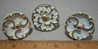 French Provincial cast metal drawer knob pull LOT of 3 white gold VINTAGE