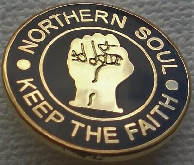 NORTHERN SOUL BADGE GOLD OR SILVER PLATE SOULFUL STAX CLICKING FINGERS BLACK