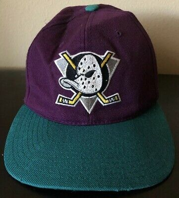 1e0b166dde3a3 Vintage Anaheim Mighty Ducks Hat Snapback CCM DISNEY Cap Hockey Purple NHL