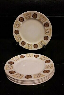 6 Vintage Royal Vale China Side Plates Brown 1970's  retro tea rooms tea party