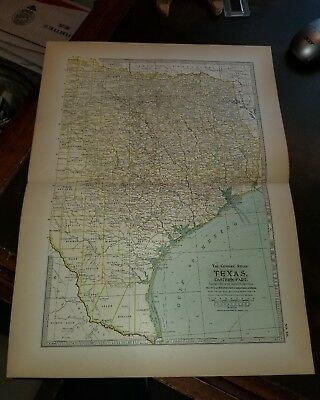 1897 The Century Atlas Original Map ~~ TEXAS EASTERN PART~~