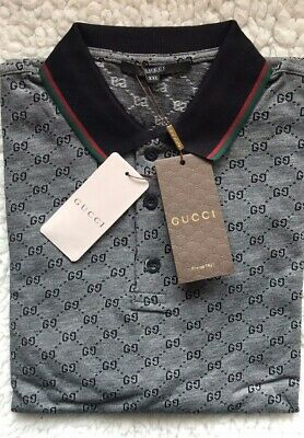 b7df027d0695 Authentic Gucci Men's Polo Shirt with GG Print Size: 2 XL Run as US (