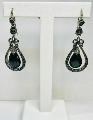 560da45c3 Authentic SCOTT KAY Ruthenium Sterling Silver Earrings With Genuine Black  Spinel