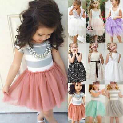 Baby Kid Girl Princess Bridesmaid Dress Tulle Skirt Party Formal Casual Sundress