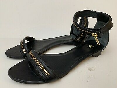 Tws Sz 8 Ankle Strap Camper 39 Leather Black Shoes Womens Flats Sandals 5 w0vOm8nN