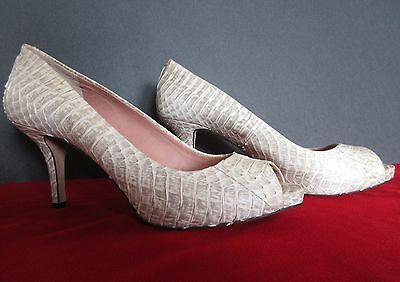 071d1619c07 Vince Camuto Kira Bone Gray Leather Reptile Peep Toe Heels Pumps Size 8N