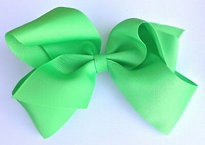 5 Inch Apple Green Boutique Ribbon Hair Bow Alligator Clip