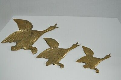 Vintage Solid Brass Ducks Taking Flight Wall Hanging Trio