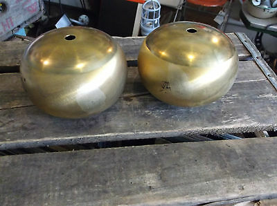 Pair of New Old Stock Spun Brass Hollow Balls - Vintage Lighting Parts