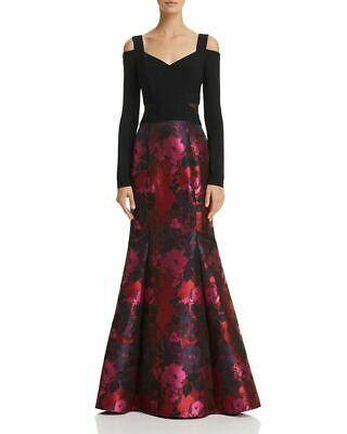 Avery G Womens Black Floral Applique Illusion Evening Dress Gown 12 BHFO 8851