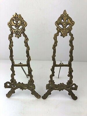 Vintage pair of Decorative Brass Book/Picture Easel Art Nouveau Style 30cm Tall