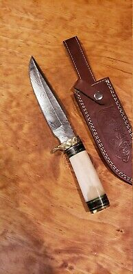 Bone Handle Hunting Damascus Knife Leather Sheath Large Bowie Outdoors Tools