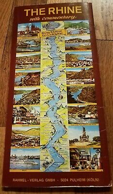 Vintage The Rhine Mainz to Cologne Folded Long Map Commentary River Europe