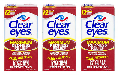 Clear Eyes Maximum Redness Relief Eye Drops, 0.5 Oz (Pack of 3)
