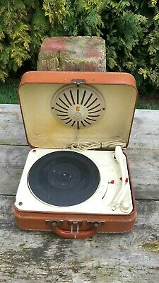 Fantastic Vintage Portable French Record Player In Carry Case *