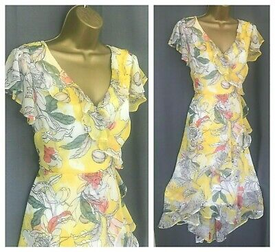 New Ex M&s Per Una Yellow White Floral Asymmetric Chiffon Tea Dress Rrp45 6-22